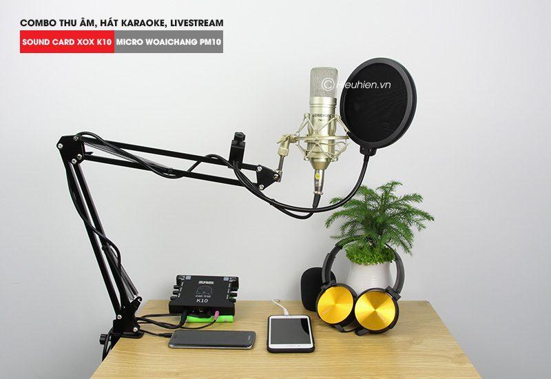 Combo Micro Woaichang PM10 + Sound Card K10 XOX - Thu âm hát live stream, karaoke giá rẻ - hình 03