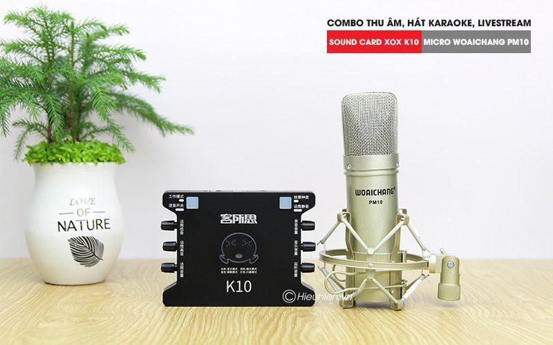 Combo Micro Woaichang PM10 + Sound Card K10 XOX - Thu âm hát live stream, karaoke giá rẻ - hình 01