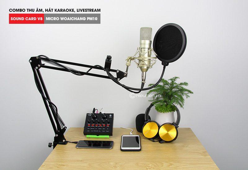 combo micro woaichang pm10 + sound card v8 - thu âm hát live stream, karaoke giá rẻ - giá đỡ
