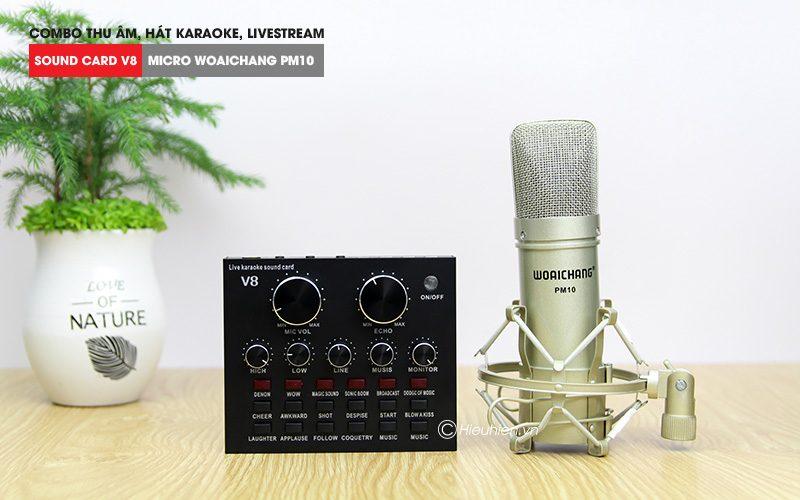 combo micro woaichang pm10 + sound card v8 - thu âm hát live stream, karaoke giá rẻ - soundcard và micro