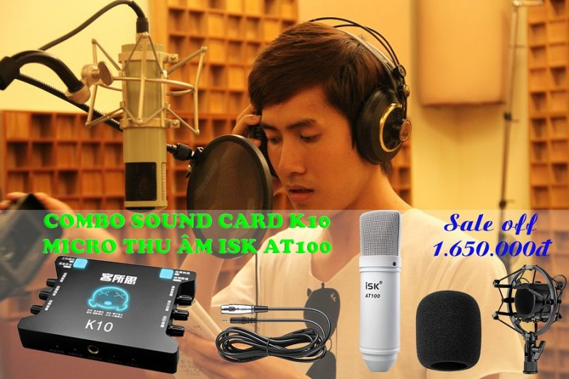 combo sound card xox k10 và micro isk at100 - lắp đặt