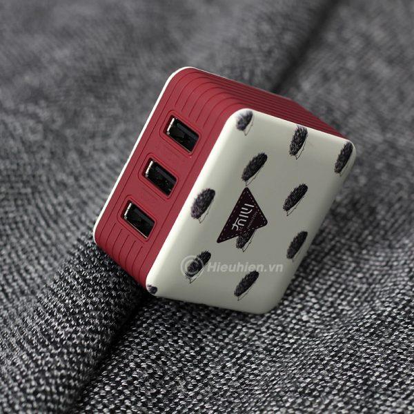 củ sạc space adapter vip08 3 usb chính hãng - hình 09