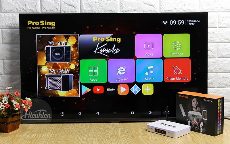 đầu karaoke thông minh prosing ps-100 pro - android tv box - giao diện