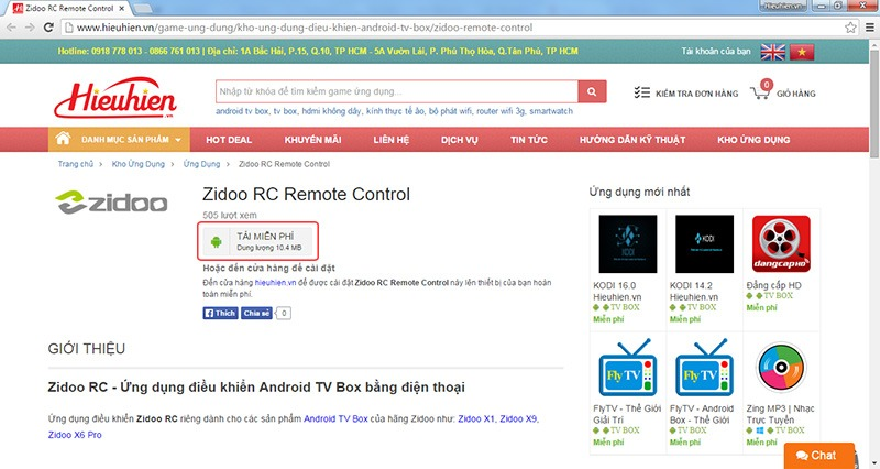 tai ung dung zidoo rc remote control cho dien thoai cua ban tai website hieuhien.vn
