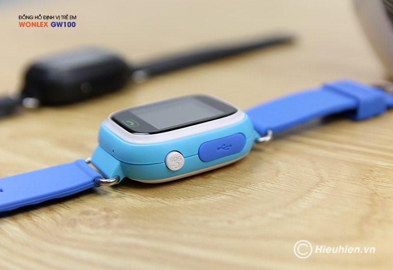 đồng hồ định vị trẻ em wonlex gw100 gps/lbs - nút nguồn