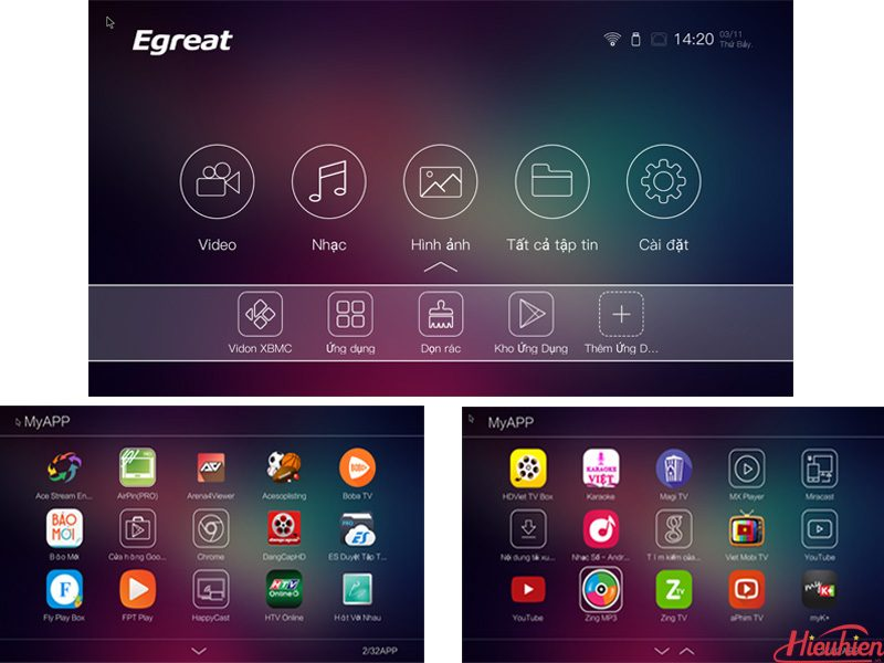 Egreat A5 Android TV Box kiêm đầu phát 4K HDR, đầu karaoke gia đình - Tặng chuột bay KM800 - giao diện