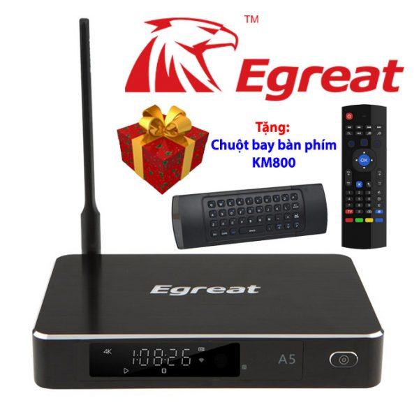 Egreat A5 Android TV Box kiêm đầu phát 4K HDR, đầu karaoke gia đình - Tặng chuột bay KM800