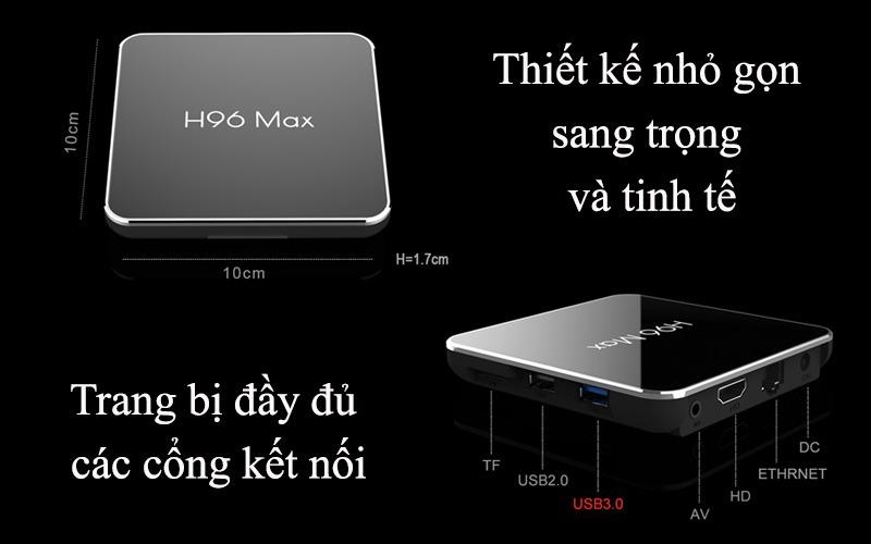 enybox h96 max x2 4gb/32gb android 8.1 tv box amlogic s905x2 chính hãng - các cổng kết nối