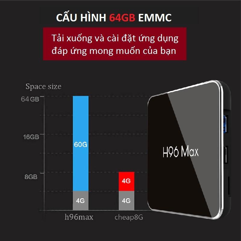 enybox h96 max x2 4gb/32gb android 8.1 tv box amlogic s905x2 chính hãng - rom 32gb