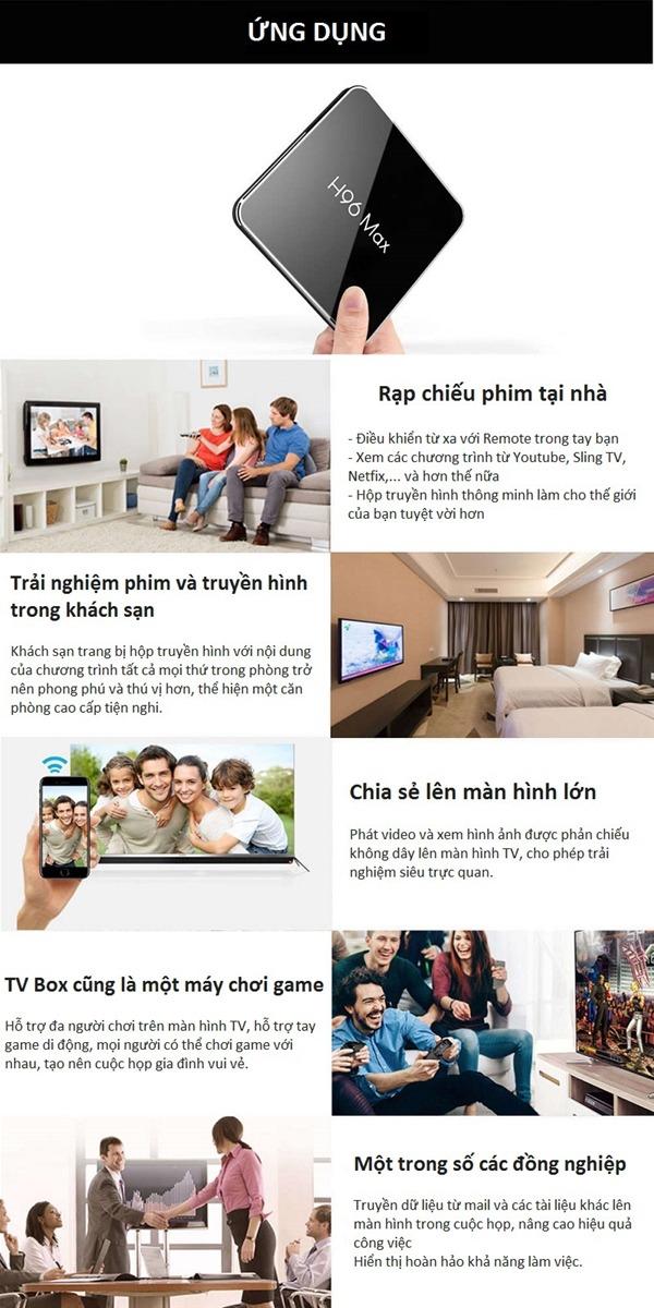enybox h96 max x2 4gb/64gb android 8.1 tv box amlogic s905x2 - giải trí đa dạng