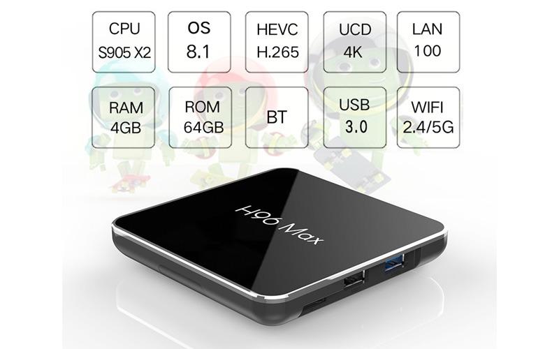 enybox h96 max x2 4gb/64gb android 8.1 tv box amlogic s905x2 - cấu hình cao