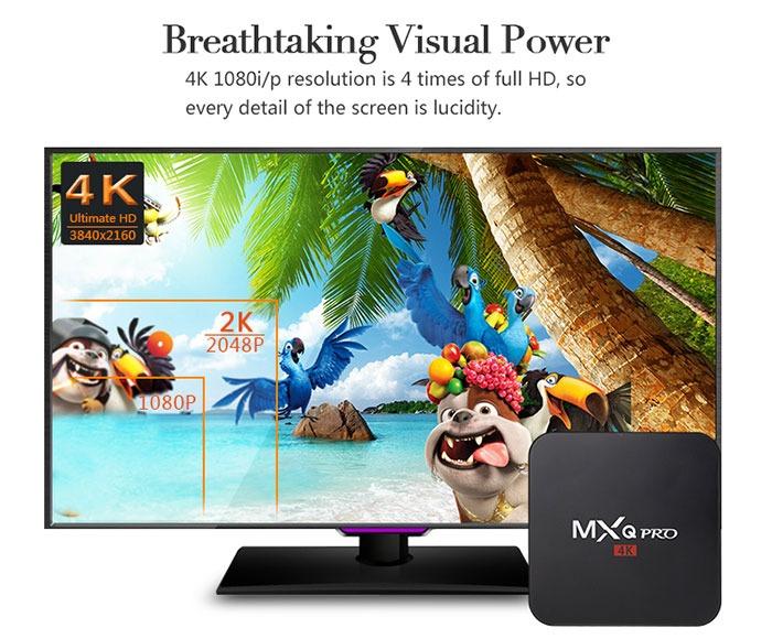 Enybox MXQ Pro 4k android tv box gia re, cau hinh manh: ho tro do phan giai 4k