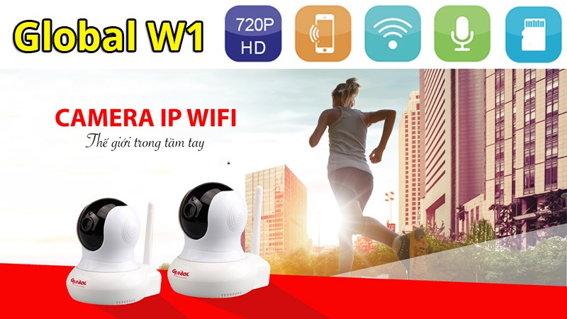 camera ip wifi global w1 720p hd - giam sat, quan sat khong day