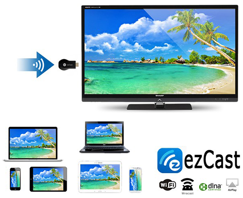 EZCast M2 HDMI khong day Ket noi iPhone iPad Android may tinh voi TV may chieu