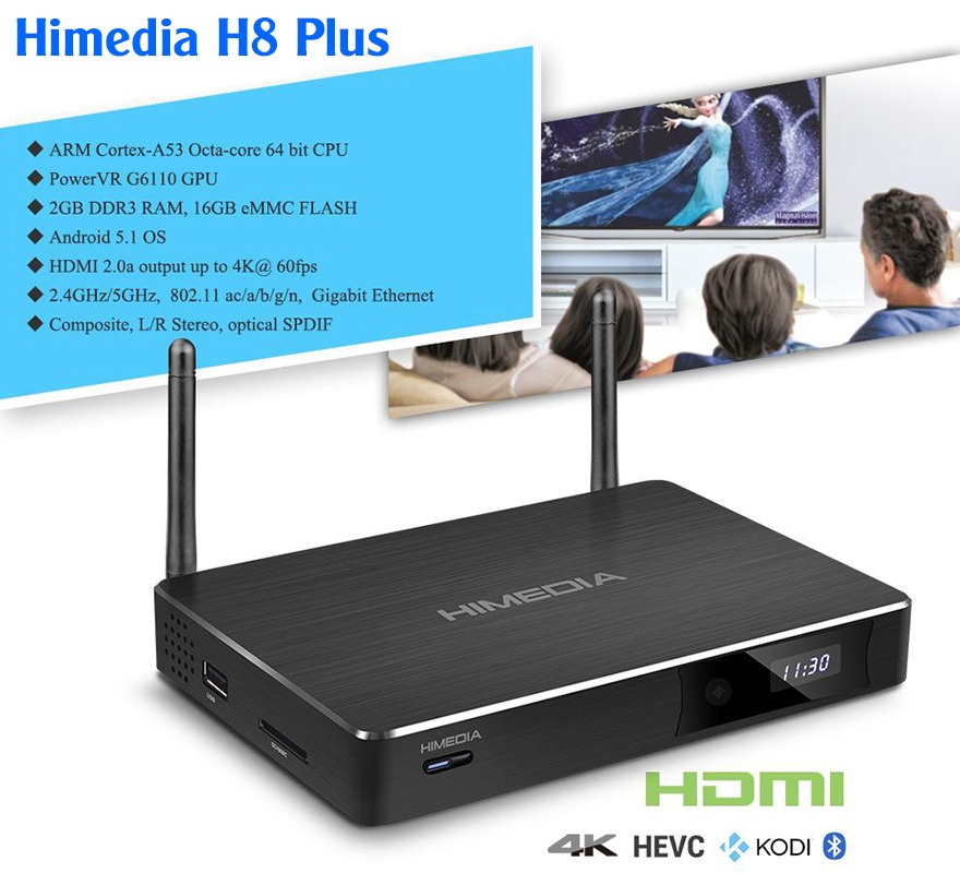 himedia h8 plus 2016 android tv box chip 8 loi 64-bit rockchip rk3368, android 5.1