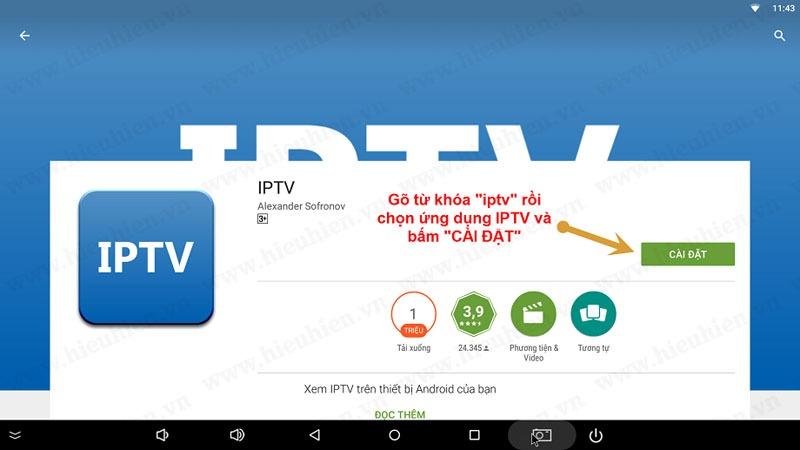"""Bấm vào """"Cài đặt"""" ứng dụng IPTV"""