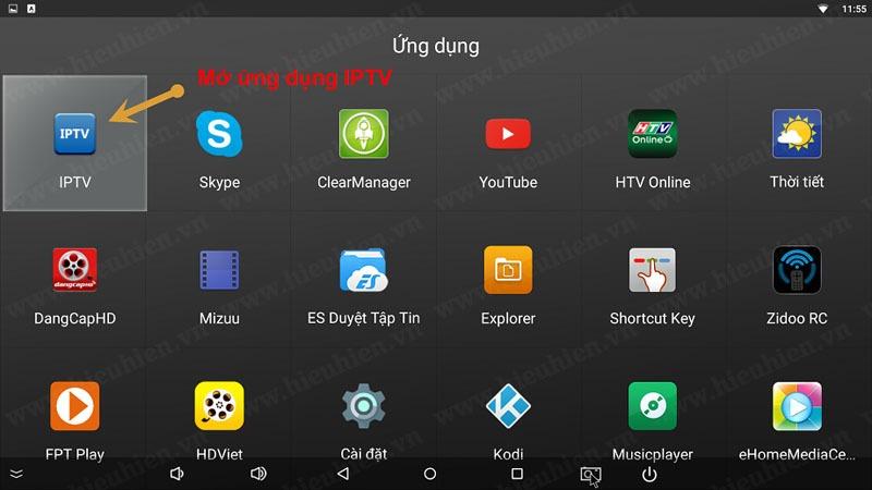 Mở ứng dụng IPTV lên để cài đặt ban đầu