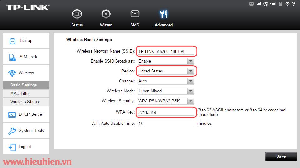 huong dan cau hinh bo phat wifi di dong tp-link m5250 - cau hinh ten va mat khau