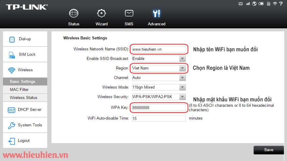 huong dan cau hinh bo phat wifi di dong tp-link m5250 - doi ten va mat khau wifi