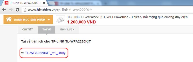 huong dan cau hinh tp-link tl-wpa2220kit: tai ve tien ich powerline scan cho tl-wpa2220kit