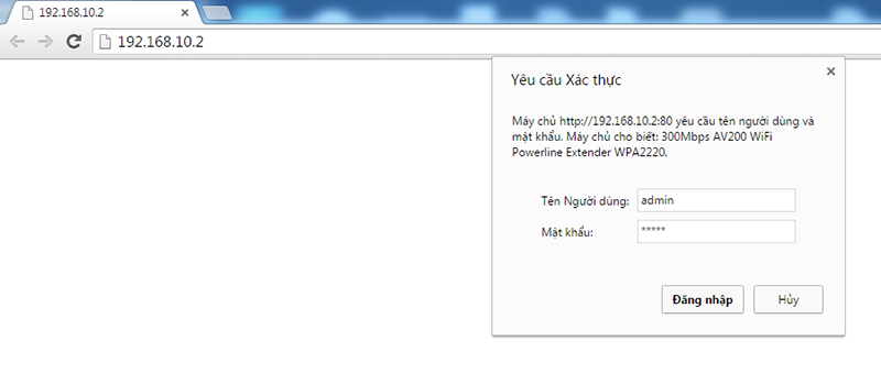 huong dan cau hinh tp-link tl-wpa2220kit: nhap vao username va password mac dinh la admin