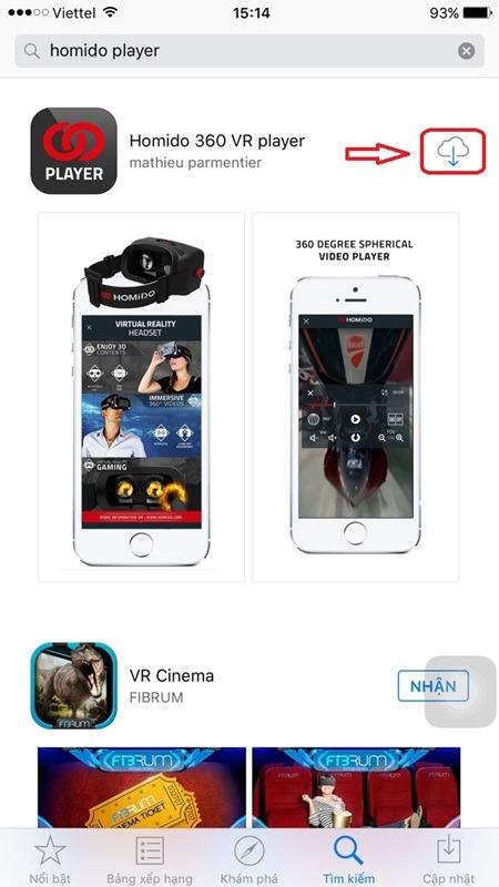 kinh thuc te ao cach tai ung dung homido vr player tu app store