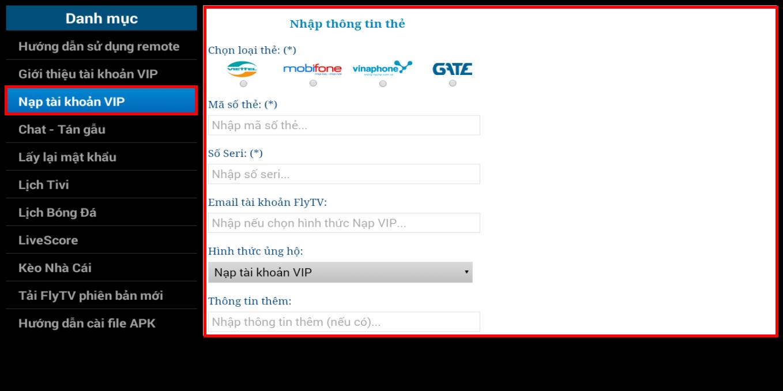 Hướng dẫn đăng ký tài khoản VIP của ứng dụng FlyTV
