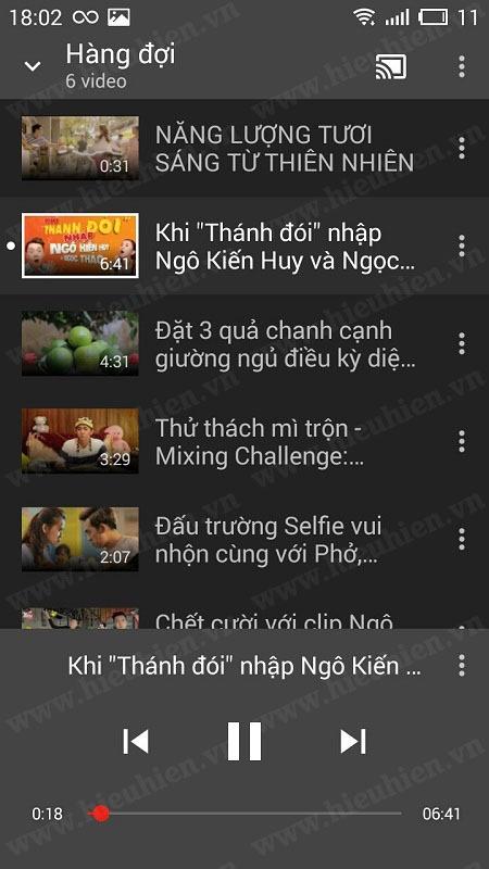 danh sach video trong hang doi