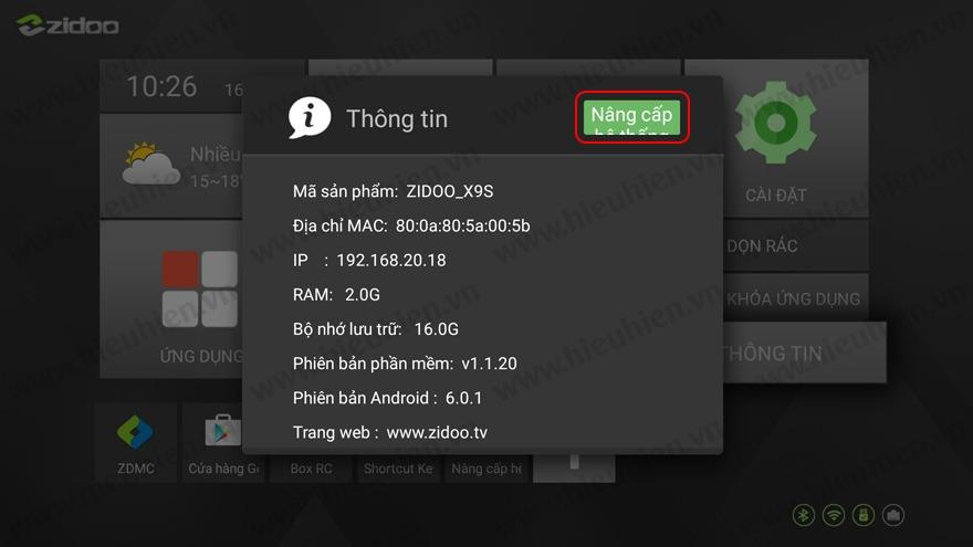 huong dan nang cap firmware moi cho android tv box zidoo x9s 02 - chon nang cap he thong