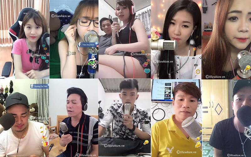 hình ảnh khách hàng đang sử dụng micro thu âm để live stream trên bigo, facebook