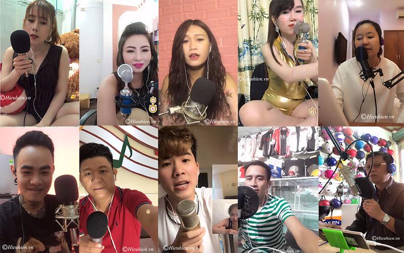hình ảnh khách hàng đang sử dụng micro thu âm hát livestream trên bigo, facebook