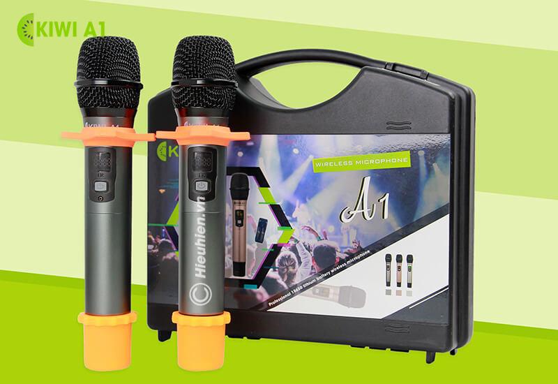 kiwi a1 micro karaoke không dây - bộ 2 micro