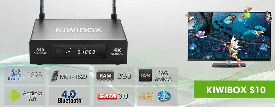 kiwibox s10 android tv box chip lõi tứ 64-bit realtek rtd1295, chạy android 6.0