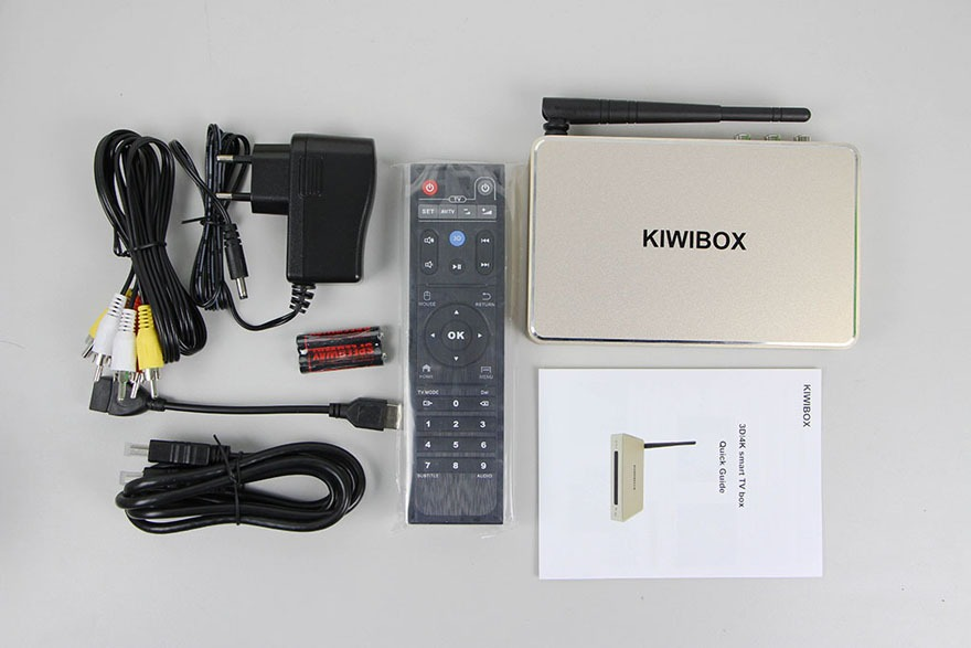 kiwibox s6 plus android tv box: phu kien kem theo