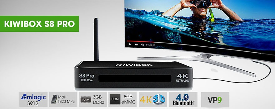 kiwibox s8 pro chinh hang gia re android tv box chip 8 nhan ram 3g