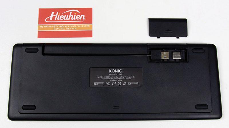 konig kc300t - bàn phím không dây cho android tv box, smart tivi - mặt sau