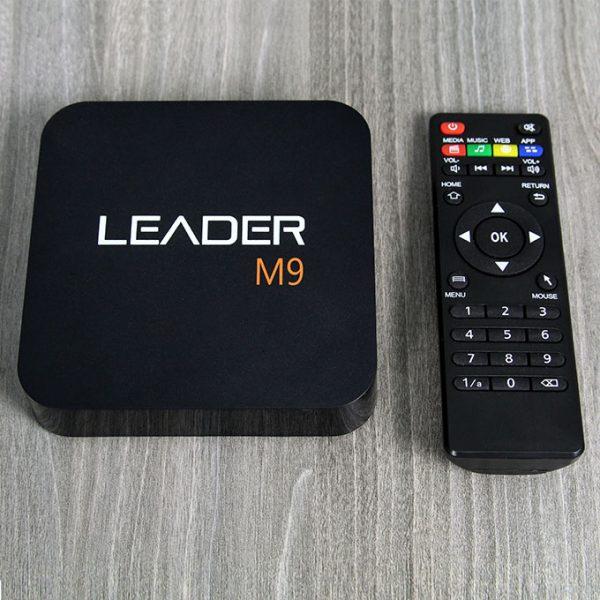 leader m9 android tv box giá rẻ, chip lõi tứ rockchip rk3229 + remote