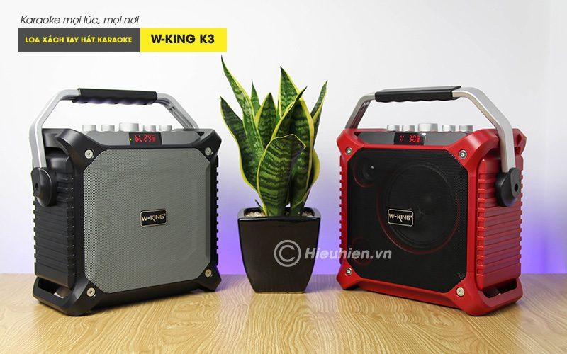 loa xách tay hát karaoke w-king k3 cực hay - thiết kế đẹp - màu đỏ và đen