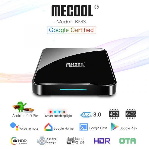 đánh giá mecool km3 android tv 9.0, amlogic s905x2 4gb/64gb, tìm kiếm bằng giọng nói