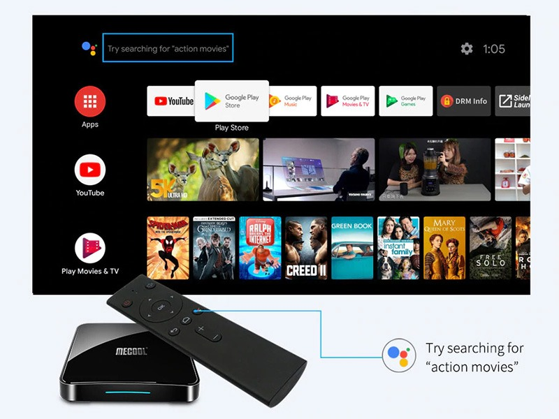 đánh giá mecool km3 android tv 9.0, amlogic s905x2 4gb/64gb, tìm kiếm bằng giọng nói - hình 04