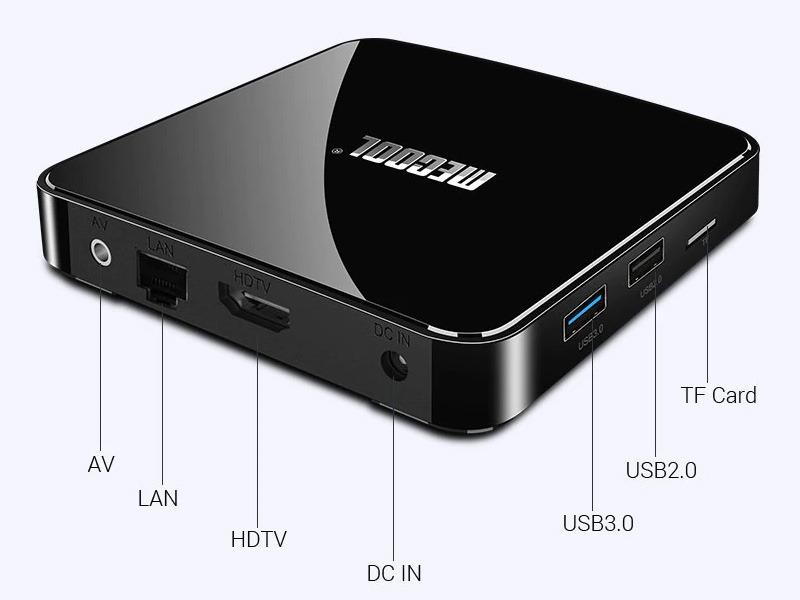 đánh giá mecool km3 android tv 9.0, amlogic s905x2 4gb/64gb, tìm kiếm bằng giọng nói - các cổng kết nối