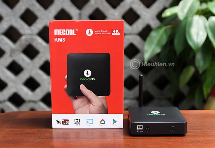mecool km8 android tv 8.0 hỗ trợ voice remote, google certificate - full box