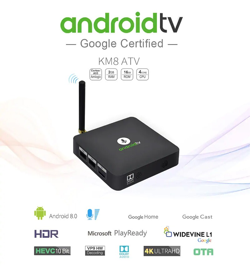 mecool km8 android tv 8.0 hỗ trợ voice remote, google certificate - cấu hình cao