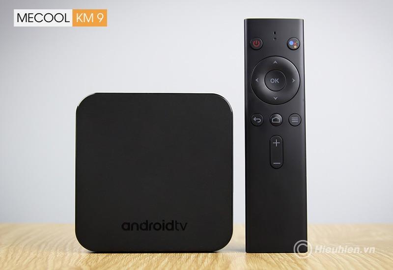 mecool km9 android tv 8.1, chip amlogic s905x2, 4gb/32gb, tìm kiếm bằng giọng nói - box và remote