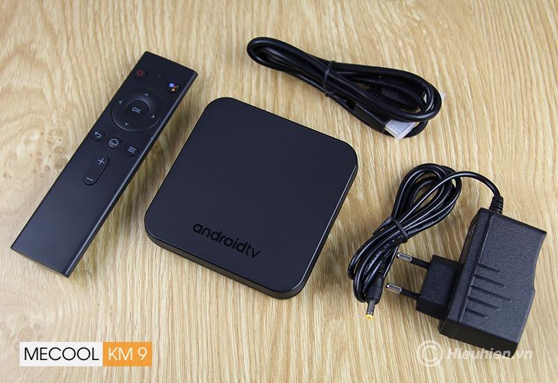 mecool km9 android tv 8.1, chip amlogic s905x2, 4gb/32gb, tìm kiếm bằng giọng nói - trọn bộ