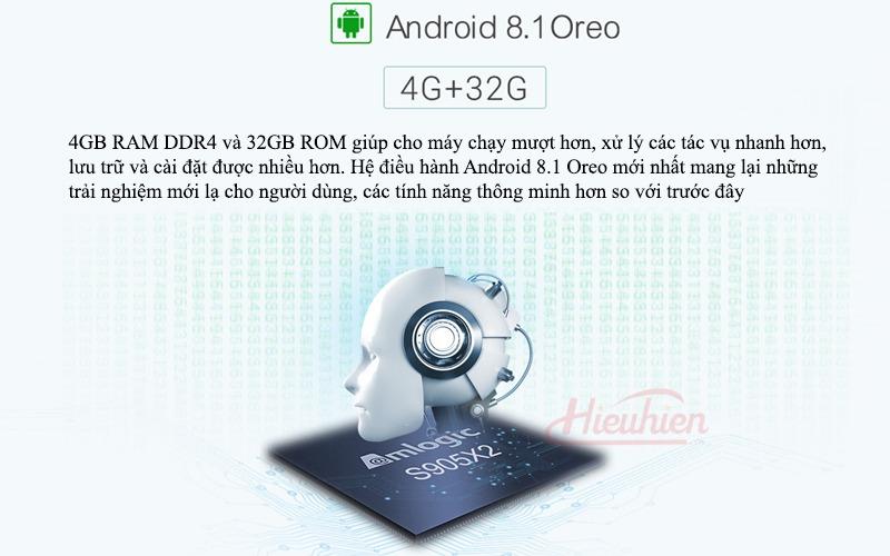 mecool km9 android tv 8.1, chip amlogic s905x2, 4gb/32gb, tìm kiếm bằng giọng nói - android 8.1