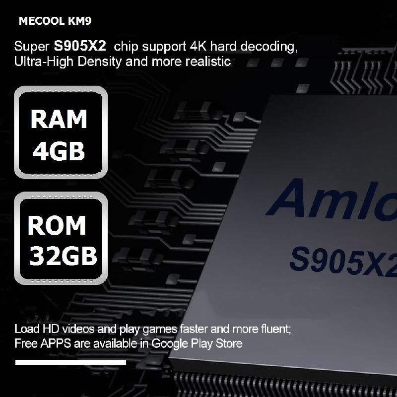 mecool km9 android tv 8.1, chip amlogic s905x2, 4gb/32gb, tìm kiếm bằng giọng nói - ram 4gb rom 32gb