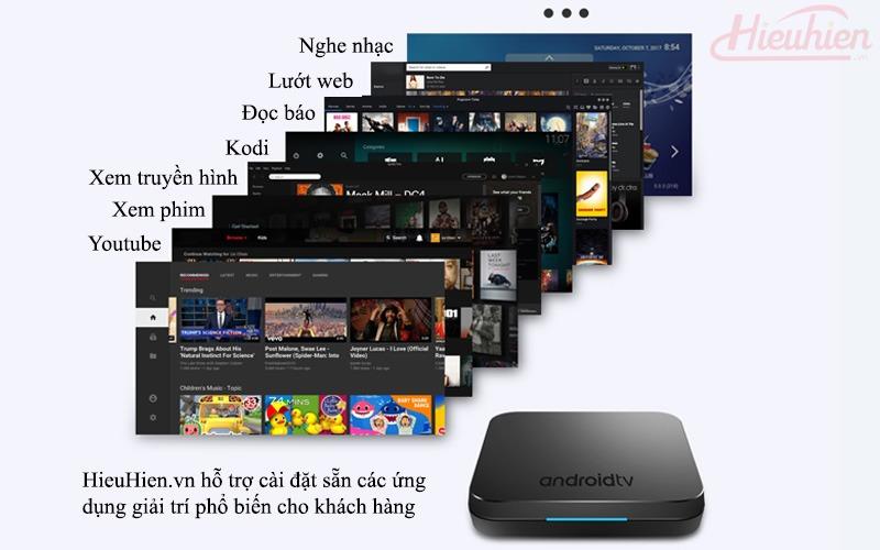 mecool km9 android tv 8.1, chip amlogic s905x2, 4gb/32gb, tìm kiếm bằng giọng nói - kho ứng dụng