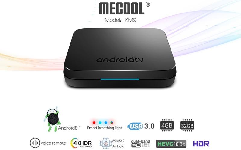mecool km9 android tv 8.1, chip amlogic s905x2, 4gb/32gb, tìm kiếm bằng giọng nói - cấu hình khủng