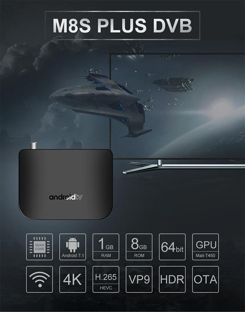 mecool m8s plus dvb-t2 s905d android 7.1 1gb/8gb tv box - ram 1gb rom 8gb